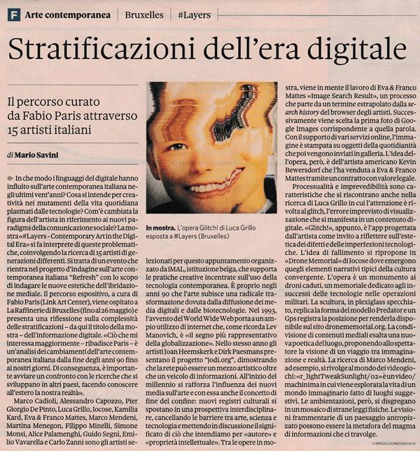 Mario Savini - Stratificazioni dell'era digitale - Il Sole 24 Ore 13.05.18