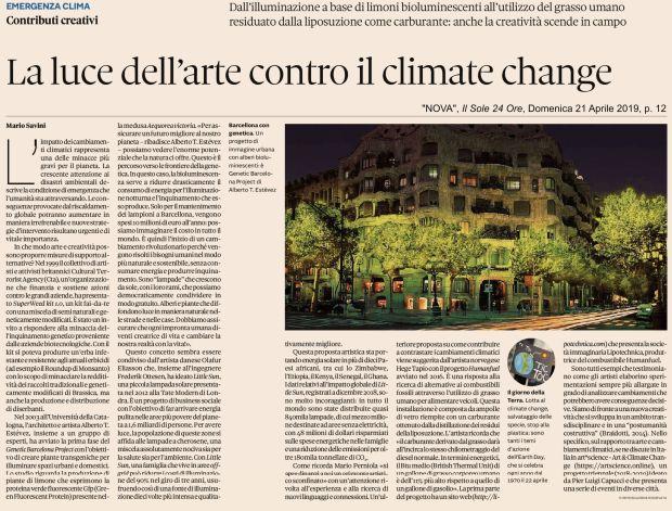 La luce dell'arte contro il climate change